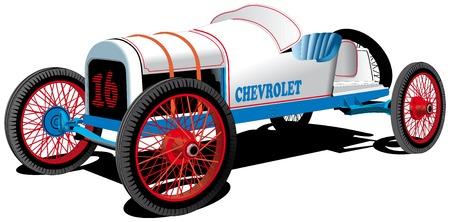 詳細なベクトル画像昔のスポーツ車は、白い背景で隔離  イラスト・ベクター素材