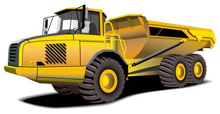 ダンプ: 黄色のダンパーが白い背景で隔離の詳細なベクトル画像