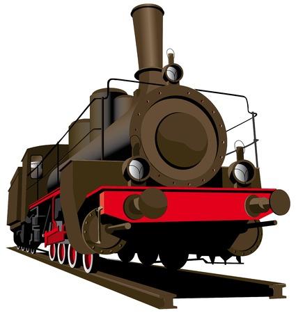 locomotora: Imagen vectorial de viejos locomotora de vapor aislados sobre fondo blanco