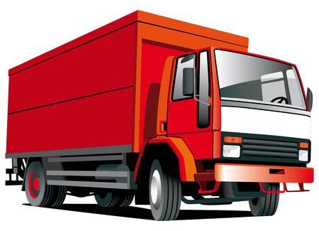 Detailed vectorial image of  red truck isolated on white background Stock Vector - 6044976