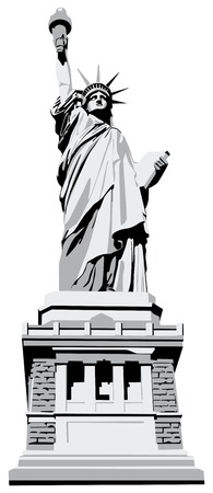 statue of liberty: Vectorial monochrome image of Statue of Liberty isolated on white background