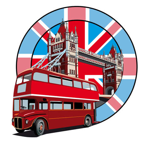 double decker bus: Round vignette with image of double decker bus on background English symbolism