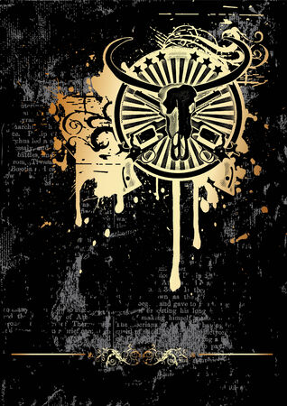 rebellion: Black grunge background with round vignette with skull of Buffalo and two guns Illustration