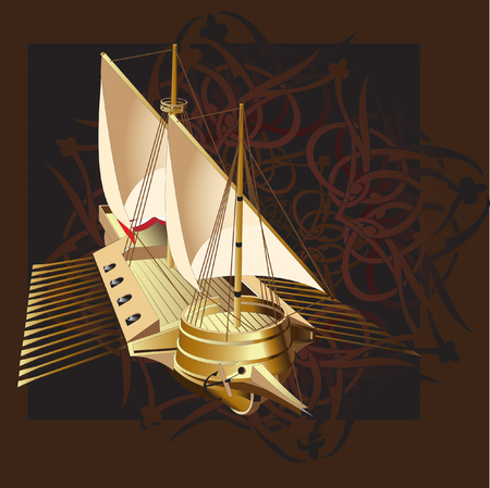 gamut: Vectorial illustration of ship on a background an east pattern, executed in the restrained gamut