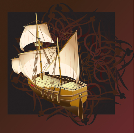 gamut: Vectorial illustration of sailship on a background an east pattern, executed in the restrained gamut Illustration