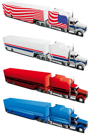 Vectorial icon set of tracks isolated on white backgrounds. Every truck is in separate layers. File contains gradients and blends. Vector