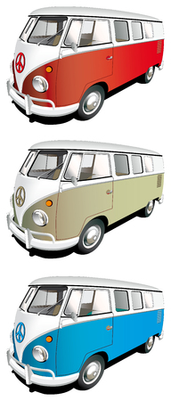 haul: Vectorial icon set of minibus isolated on white backgrounds. Every minibus is in separate layers. File contains gradients and blends.
