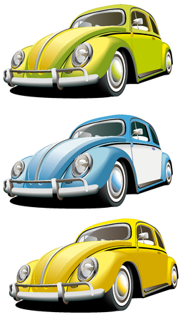 Vectorial icon set of old-fashioned cars isolated on white backgrounds. Every car is in separate layers. File contains gradients and blends. Illustration