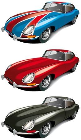 coche antiguo: Conjunto de icono vectorial de coche de deporte ingl�s retro (Jaguer tipo E a�o 1965) aislada sobre fondos blancos. Cada coche es en capas separadas. El archivo contiene degradados y fusiones.  Vectores