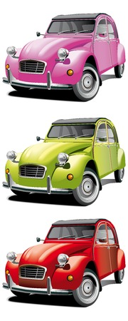 Vectorial icon set of old little cars isolated on white backgrounds. Every car is in separate layers. File contains gradients and blends.