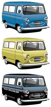 motorbus: Conjunto de icono vectorial de ingl�s furgonetas anticuados con la derecha volante aislados sobre fondos blancos. Cada van es en capas separadas. Archivo contiene degradados y fusiones.