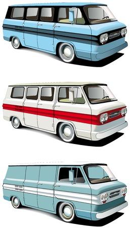 motorbus: Conjunto de icono vectorial de furgonetas de retro estadounidenses aislados sobre fondos blancos. Cada van es en capas separadas. Archivo contiene degradados y fusiones.