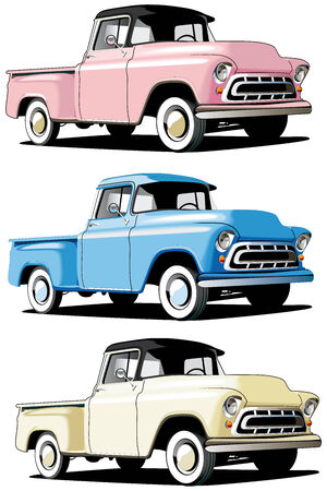 chevy: Vectorial icon set of American retro pickups isolated on white backgrounds. Every pickup is in separate layers. File contains gradients and blends.