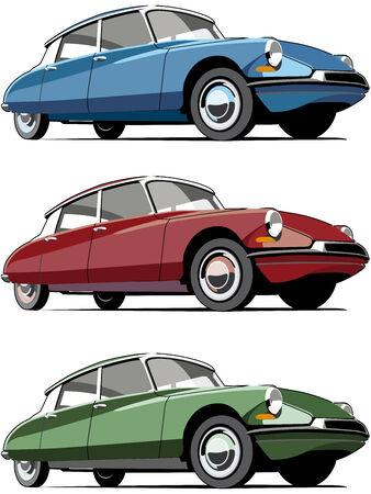 white car: Set di icone vettoriali di automobili francese antiquate, isolato su sfondi bianchi. Ogni macchina � in livelli separati. Nessun sfumature e miscele.  Vettoriali