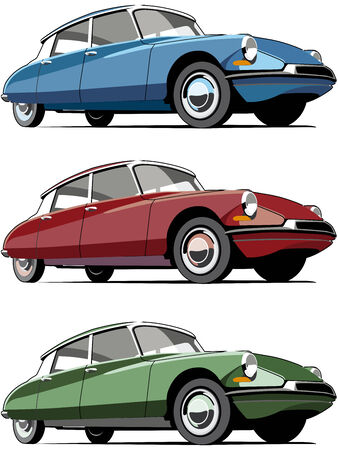 vintage car: Vectorial icon set of old-fashioned French cars isolated on white backgrounds. Every car is in separate layers. No gradients and blends.