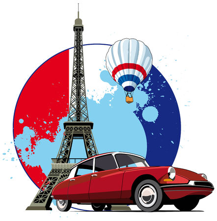 Vectorial round vignette on theme of French and Paris on background French symbolism and Eifel Tower, executed in National color of French. No gradients and blends. Stock Vector - 6209225