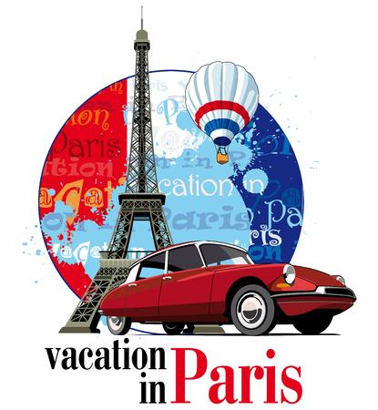 frans: Vectorial ronde vignet thema van Franse en Parijs met inscriptie Vakantie in Parijs op de achtergrond Franse symboliek en Eifel toren, uitgevoerd in de nationale kleuren van het Frans. Geen verlopen en mengsels.  Stock Illustratie