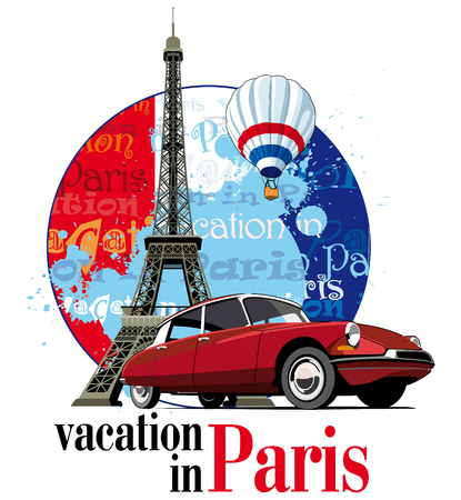 inscription: Vectorial round vignette on theme of French and Paris with inscription Vacation in Paris on background French symbolism and Eifel Tower, executed in National color of French. No gradients and blends.