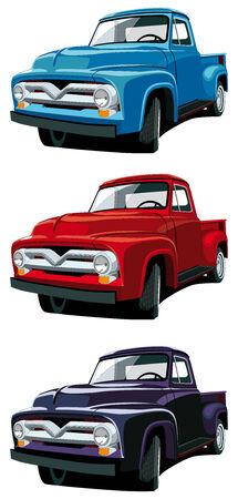 ford: Vector icon set van Amerikaanse ouderwetse pickups geïsoleerd op een witte achtergrond. Elke pick-up is in afzonderlijke lagen. Geen verlopen en mengsels.  Stock Illustratie