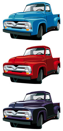 chevy: Vectorial icon set of American old-fashioned pickups isolated on white backgrounds. Every pickup is in separate layers. No gradients and blends. Illustration