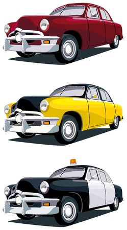 Vectorial icon set of old-fashioned American cars isolated on white backgrounds. Every car is in separate layers. No gradients and blends. Stock Vector - 6209221