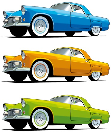coche clásico: Conjunto de icono vectorial de coches de moda estadounidenses aislados sobre fondos blancos. Cada cars es en capas separadas. Archivo contiene degradados y fusiones.