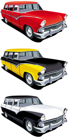 estate car: Vectorial icon set of American old-fashioned station wagons isolated on white backgrounds. Every cars is in separate layers. File contains gradients and blends.