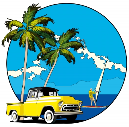 blends: Vectorial round vignette with yellow old-fashioned pickup and two palms on sky and sea background. Fail contains blends.
