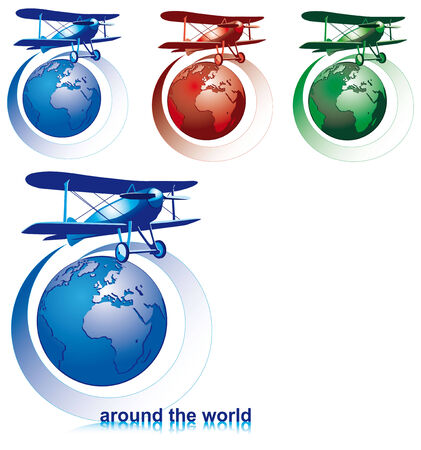 terrestrial: Vectorial icon set on theme of round-the-world tour with old-fashioned biplane and globe isolated on white backgrounds. Every composition is in separate layers. File contains gradients.