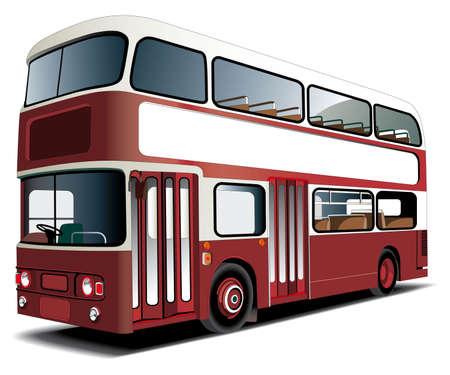 mode of transport: Double decker bus aislados en blanco con marco blanco para el texto en ingl�s. El archivo contiene degradados y fusiones de degradado y mezclas.