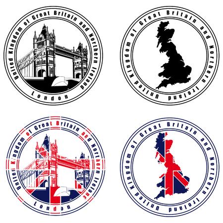brytanii: Vectorial zestaw pieczęci pocztowej na motywie UK z brytyjskich, wykonany w National kolorów z UK. Nie przejścia i gradienty.