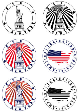 Vectorial set of postal stamp on theme of USA with American simbolism, executed in National color of USA . No blends. Vector