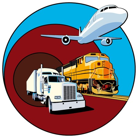 Vectorial round vignette on theme of cargo transportation with three basic types of transports, executed in the limited palette. No gradients and blends. Strokes are not expanded. Vector