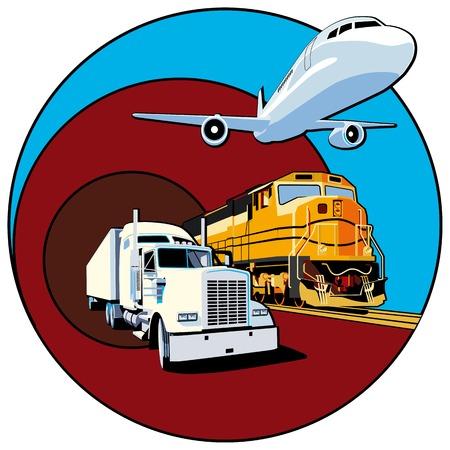 air freight: Vettoriale vignetta rotonda sul tema del trasporto merci con tre tipi di trasporti, eseguiti nella tavolozza limitata. Senza sfumature e miscele. Tratti non vengono espanse.