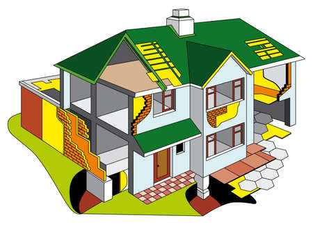 diagrammatic: diagrammatic representation of dwelling house in section. No blends and gradients.
