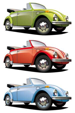 white bacground: Conjunto de la icono vectorial, de coches anticuadas (Volkswagen Beetle), aislado sobre fondos blancos. Cada coche es en capas separadas. Archivo contiene degradados y fusiones. Vectores