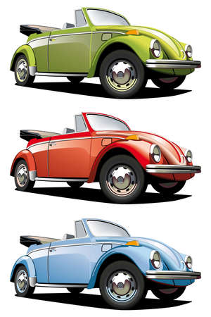 retro revival: Vectorial icon set of old-fashioned cars (VW Beetle) isolated on white backgrounds. Every car is in separate layers. File contains gradients and blends.