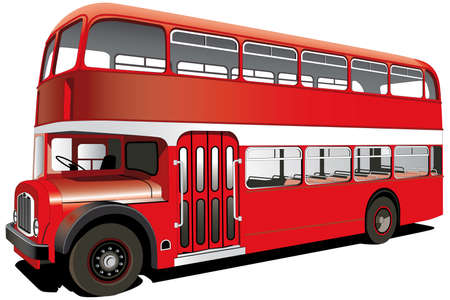 old bus: English double decker bus isolated on white with white frame for Your text. File contains gradients and blends gradient and blends. Illustration