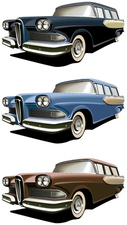Vectorial icon set of American old-fashioned station wagons isolated on white backgrounds. Every car is in separate layers. File contains gradients and blends. Vector