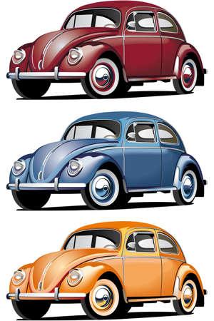 escarabajo: Conjunto de la icono vectorial, de coches anticuadas (Volkswagen Beetle), aislado sobre fondos blancos. Cada coche es en capas separadas. Archivo contiene degradados y fusiones. Vectores