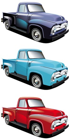 purple car: Vectorial icon set of American retro pickups, executed in three colour versions and  isolated on white backgrounds.