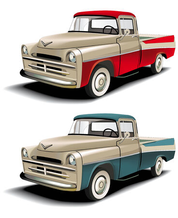 street rod: Vectorial icon set of American retro pickups, executed in two colour versions and  isolated on white backgrounds.