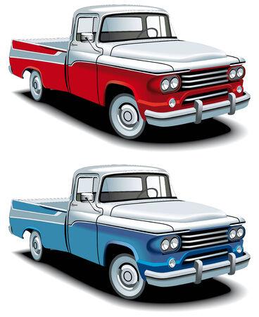 pickups: Icona vettoriale set di American Pick-upattivia retr�, eseguite nelle versioni a due colori e isolato su sfondo bianco.