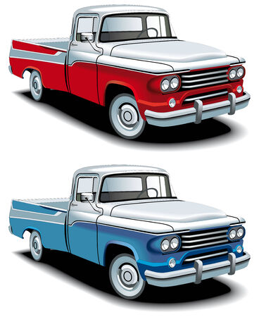 street rod: Vectorial icon set of American retro pickups, executed in two colour versions and  isolated on white backgrounds.  Illustration