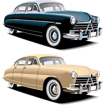 coche clásico: Imagen vectorial de edad-fasioned de coche grande de Am�rica, ejecutada en dos versiones de color. Degradados contenidos y fusiones  Vectores