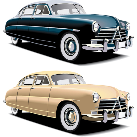 blends: Vectorial image of old-fasioned big american car, executed in two colour versions. Contained gradients and blends