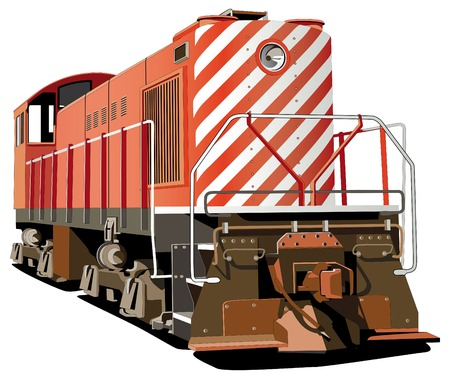 railroad: Vectorial image of hog - retro style heavy locomotive, isolated on white background.