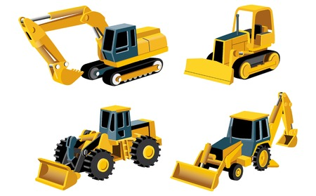 yellow tractors: Vectorial set of engineering icon. No blends. Illustration