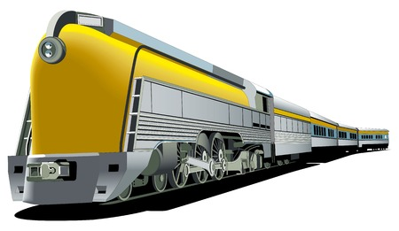freight: vectorial image of yellow 40s styled locomotive isolated on white background Illustration