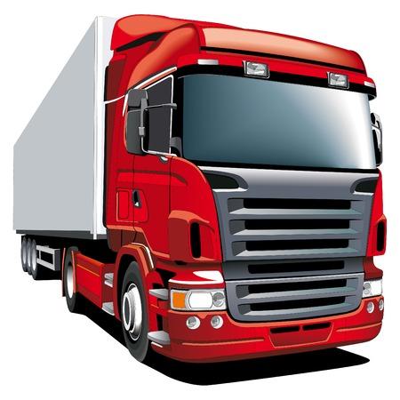 ciężarówka: Szczegółowe vectorial obraz czerwoną wagonu, odizolowane na białym tle. Ilustracja